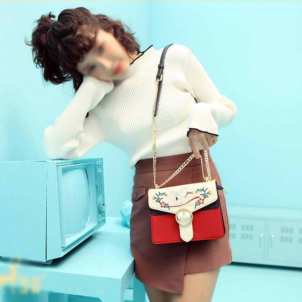 ZJ- Shoulder Bag Shoulder Bag PU//Polyester Fashion Embroidered Shoulder Joker Crossbody Casual Soft Face Color Chain Lady Square Bag 20X8X15.5cm /&/&