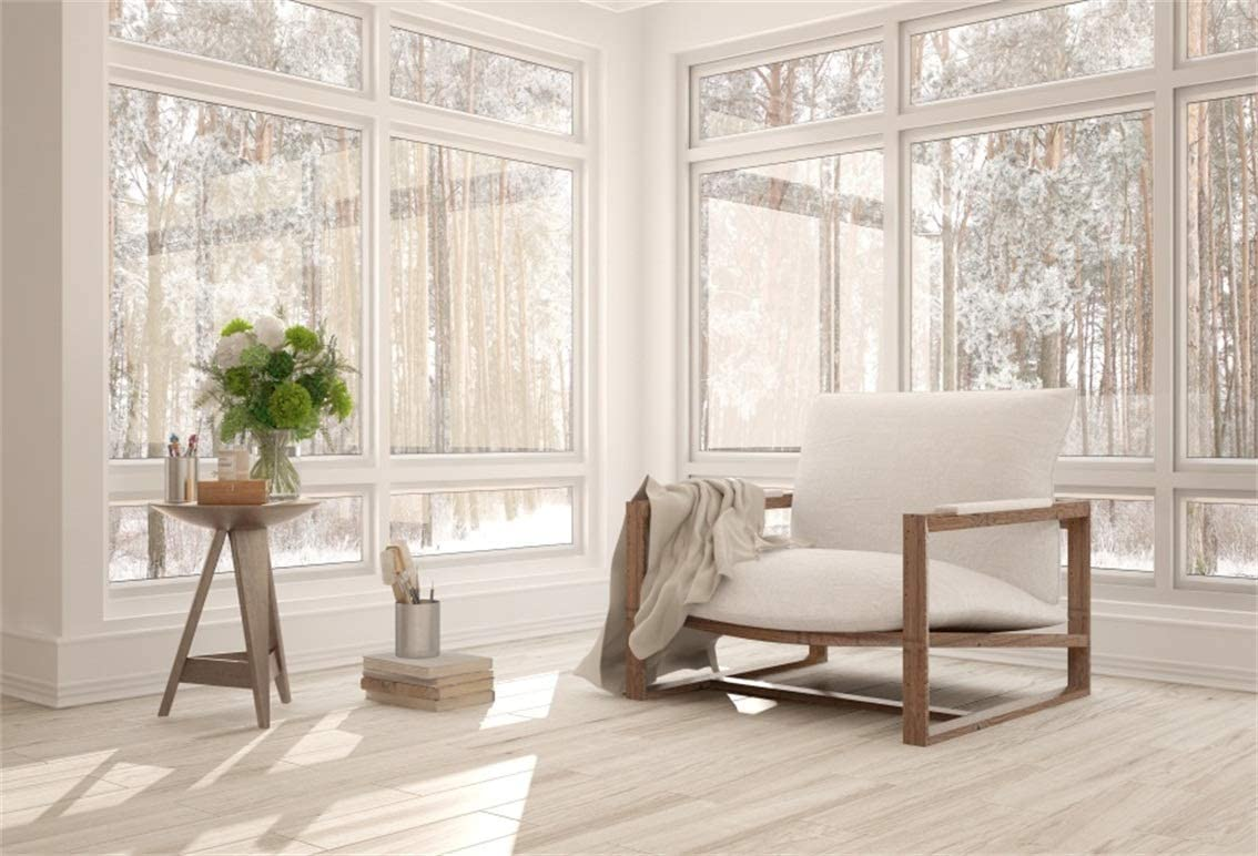CSFOTO 6x4ft Classic Living Room Backdrop French Window View Winter Landscape Sofa Wooden Floor Home Interior Room Background for Photography Online Meeting Room Decor Background