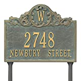 "Customized Acanthus Monogram LAWN Address Plaque 11""H x 14""W (3 Lines)"
