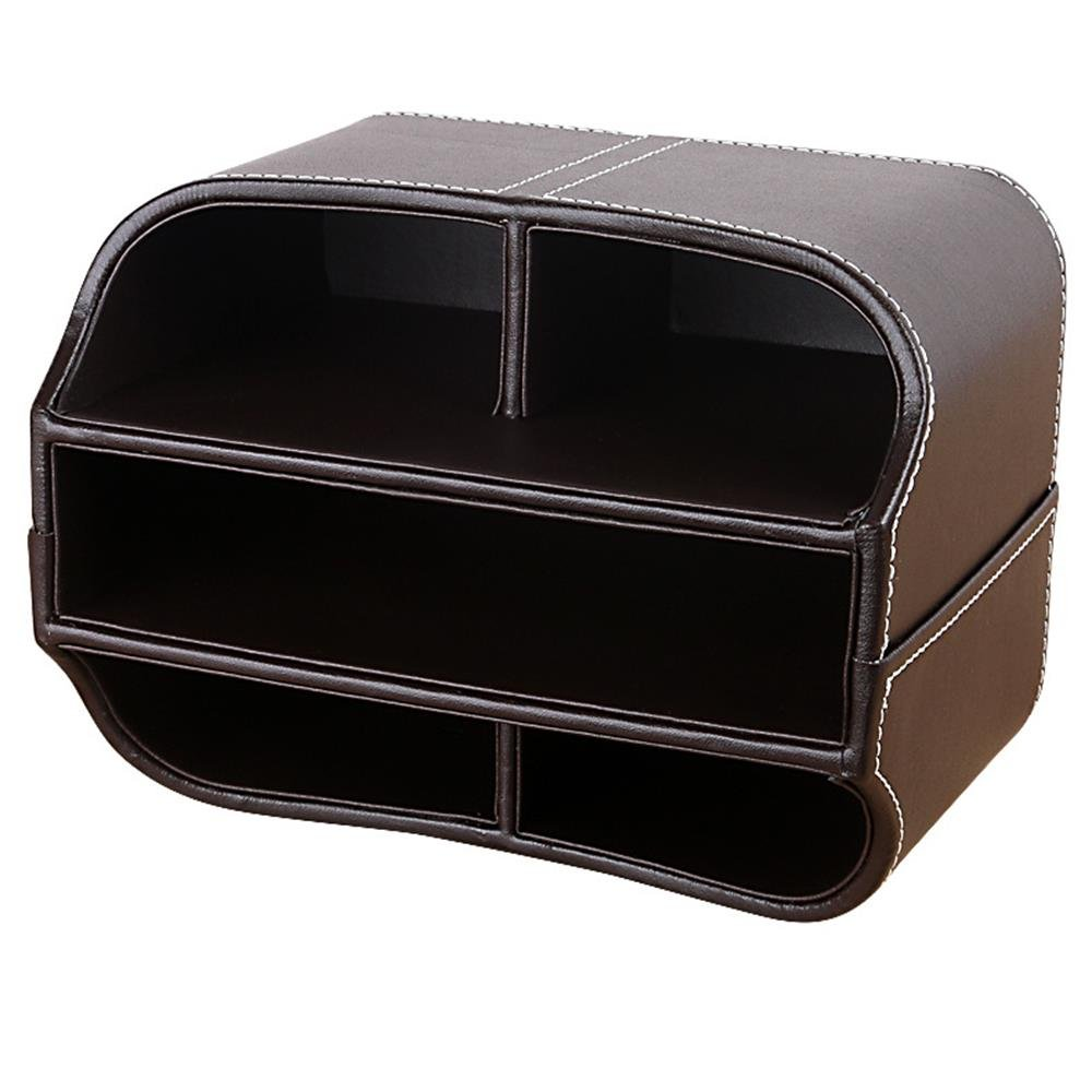 360 Degr/és Rotatif avec 5 Compartiments pour la Maison et le Bureau. Boite de Rangement Bureau Papeterie Range Telecommande Cuir Support de T/él/écommande Organisateur Marron
