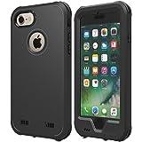 【ZVE】iPhone7ケース iphone8 ケース 完全防水ケース IP68 アイフォン7 / 8通用 4.7インチ スマホケース 防塵 防雪 耐衝撃カバ ー ストラップ付き 衝撃吸収 指紋認識可 薄型軽量 本体液晶保護フィルム付き(ブラック)