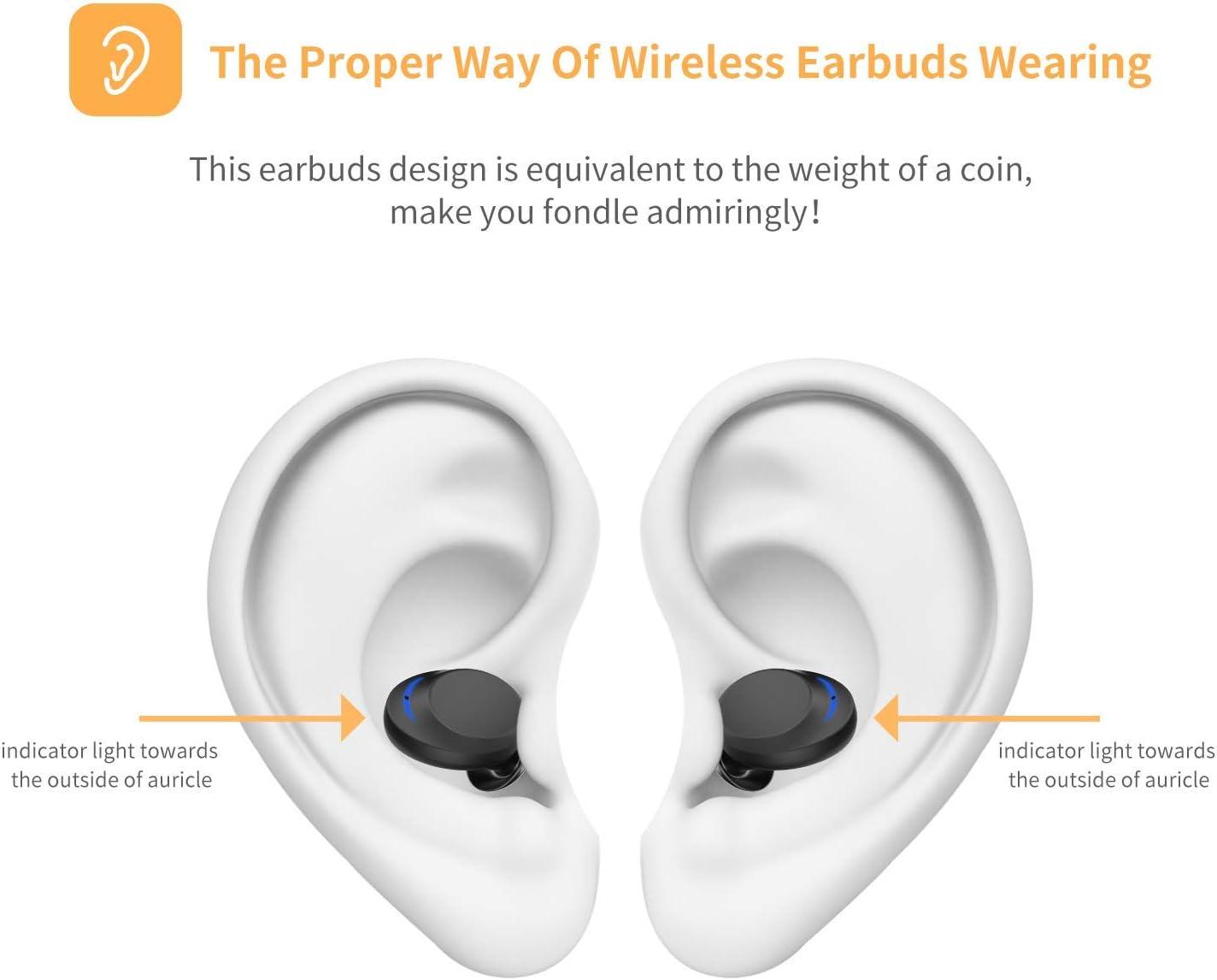 Wireless Earbuds UNIOJO TWS Bluetooth 5.0 Headphones Premium IPX8 Waterproof Headphones Mini in-Ear 3D Stereo Sound Wireless Earphone with 3000mAh Charging Case