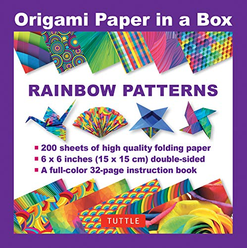 - Origami Paper in a Box - Rainbow Patterns: 200 Sheets of Tuttle Origami Paper: 6x6 Inch High-Quality Origami Paper Printed with 12 Different Patterns: 32-page Instructional Book of 12 Projects