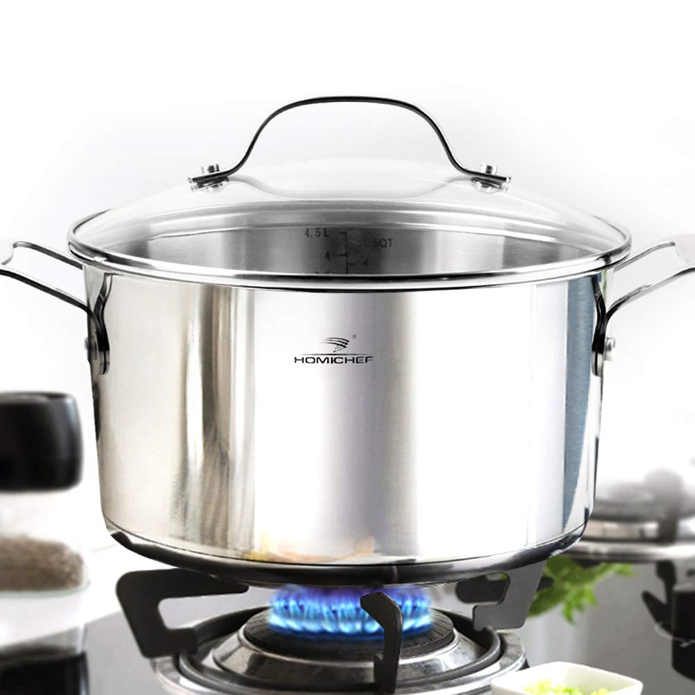 HOMI CHEF Mirror Polished NICKEL FREE Stainless Steel 4.5 Quart Stock Pot with Glass Lid (No Toxic Non Stick Coating, 9.5 Inch)