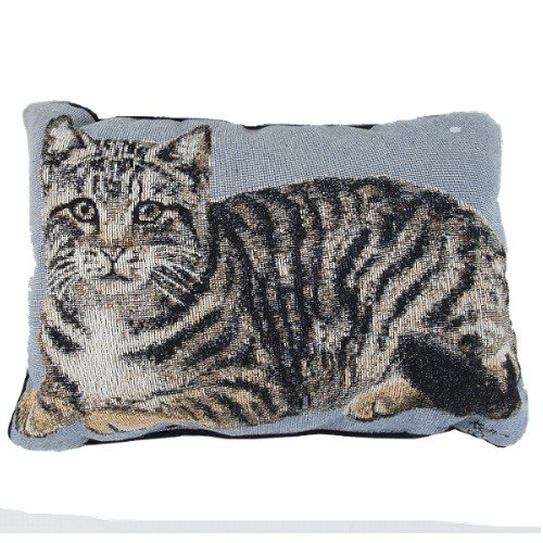 BigKitchen Silver Tabby Cat Tapestry Decorative Throw Pillow