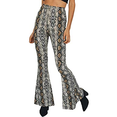 6375867efc Women's Snakeskin Print Flare Pants Fashion High Waist Bell Bottom ...