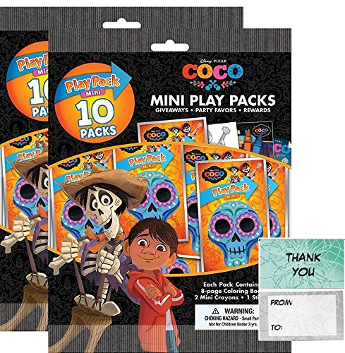 Disney Coco 20 Mini Play Packs Party Favors Bundle With 20 Thank you Cards (2 bags of 10)