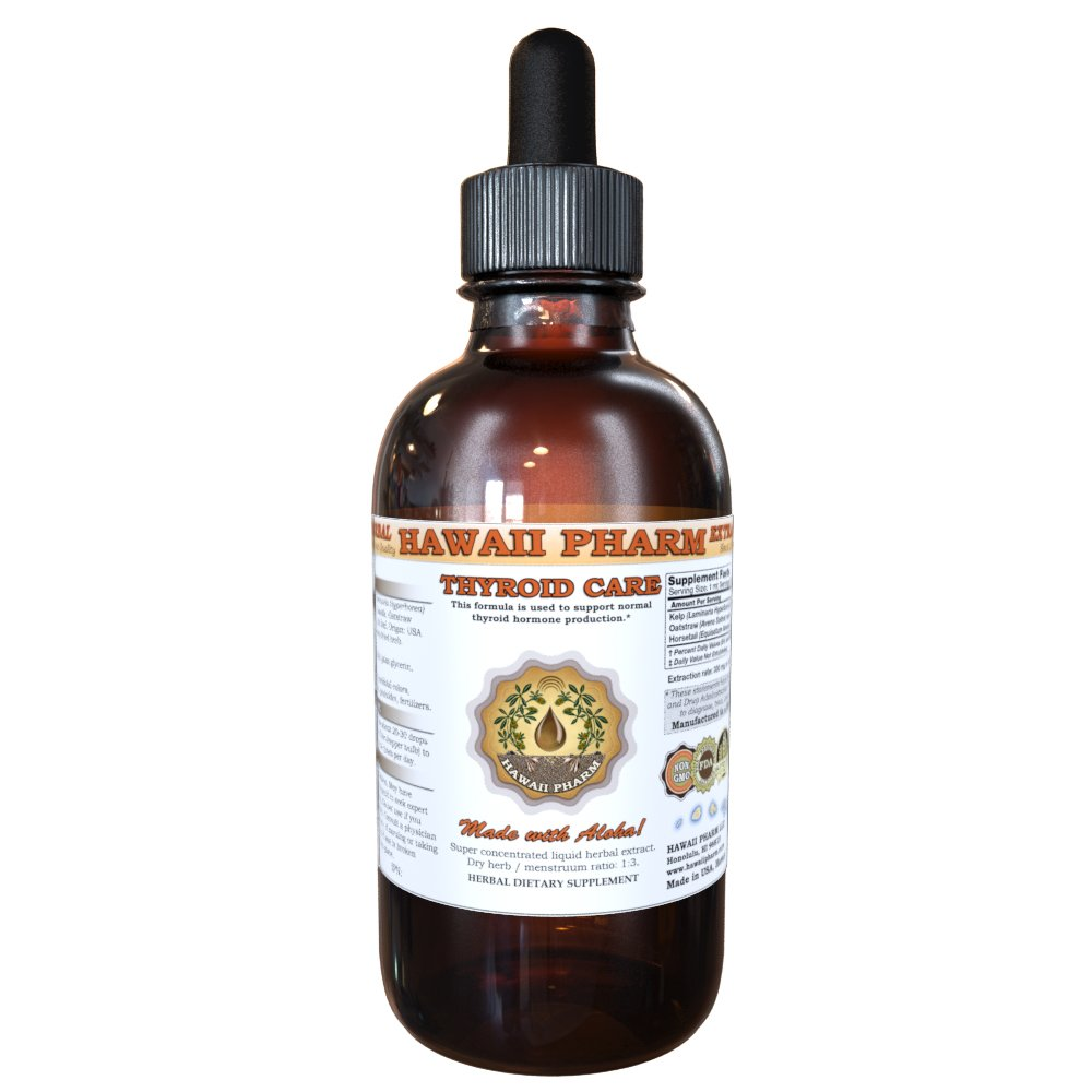 Thyroid Care Liquid Extract, Kelp (Laminaria Hyperborea) Whole Plant, Oatstraw (Avena Sativa) Stem and Leaf, Horsetail (Equisetum Arvense) Herb Tincture Supplement 4 oz
