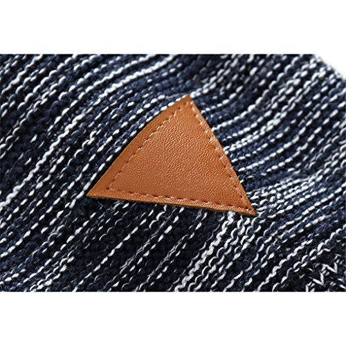 Little Boys Stripes Knitting Sweater Crewneck Sweatshirt Cotton Pullover Pajamas Deep Blue Size 100 by SanReach (Image #3)