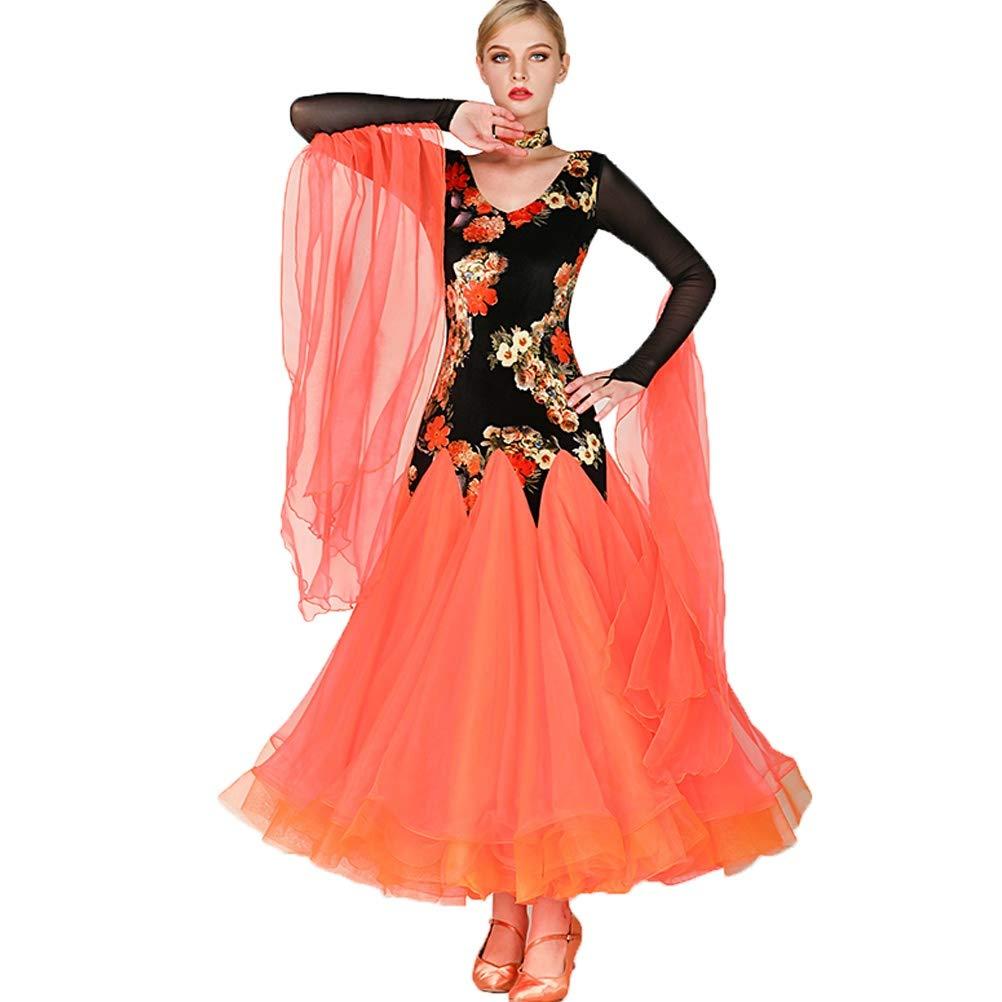Orange S Robes de Danse de Salon pour Les Femmes Moderne Lisse Valse Tango Costumes De Fête Grande Balançoire Collant VêteHommests de Danse de Compétition Jupe