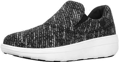 2363727ca685ef FitFlop Women s Loaff Sporty Slip-On Sneaker Black Urban White 5 ...