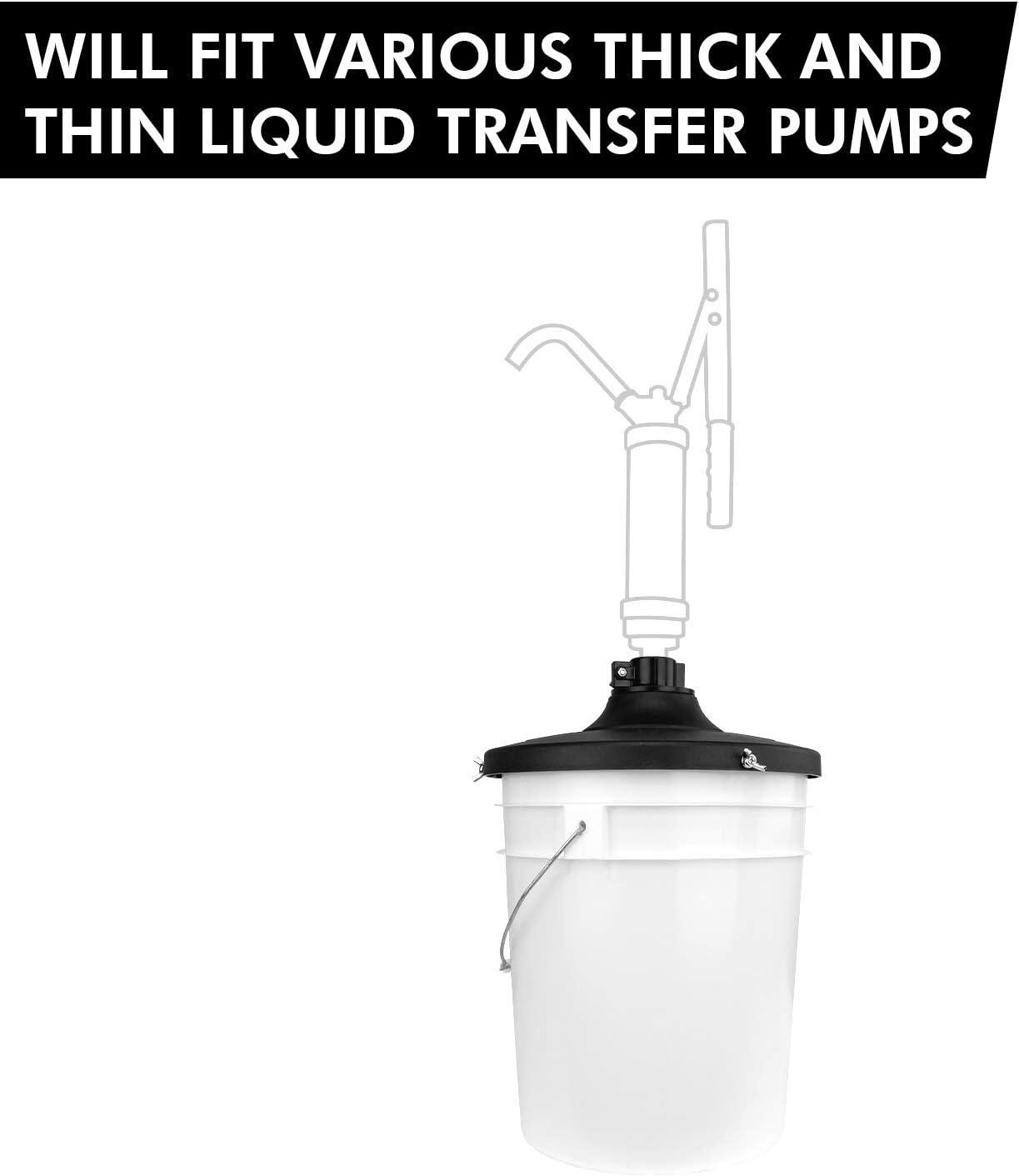 TERA PUMP Genuine 11.9 Black Pail Lid Cover and Adapter for TRPAIL//TRPAIL-M Pump