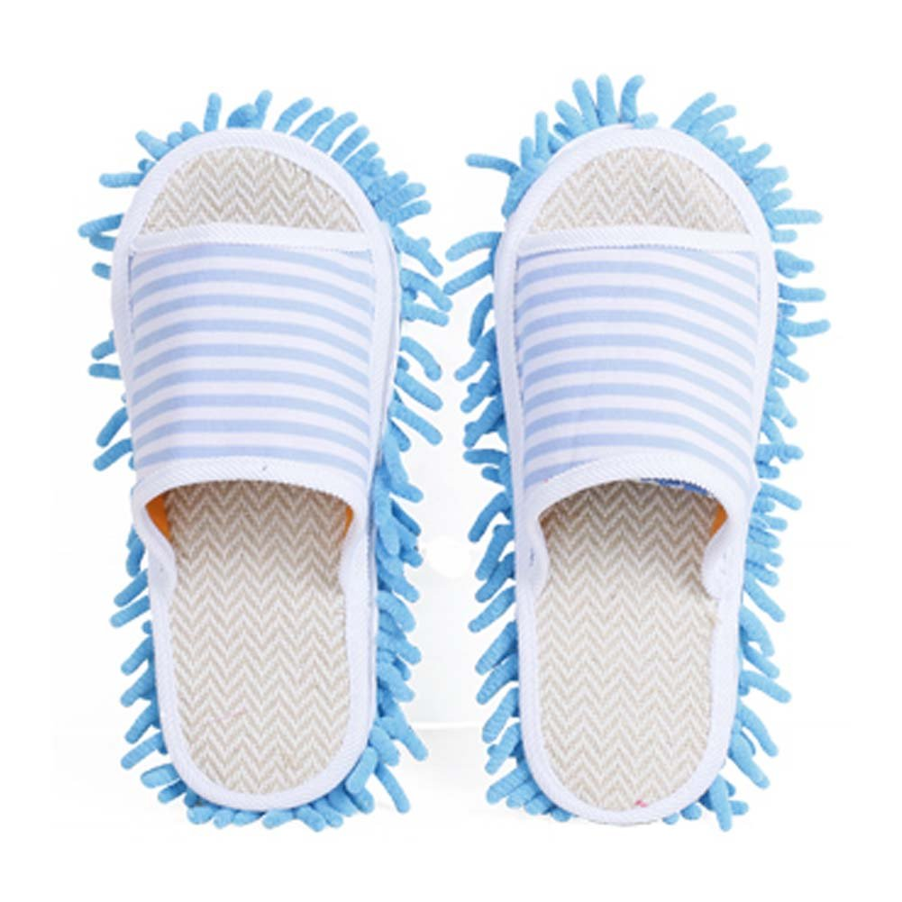 Unisex Microfiber Slipper Magic Cleaning Slippers Home Wiping Slippers [Blue]
