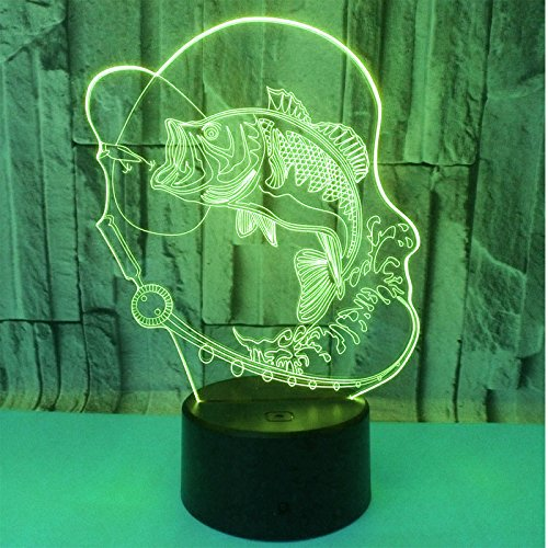 Lannmart 3D LED Night Light Go Fishing Fish with 7 Colors Light for Home Decoration Lamp Amazing Visualization Optical Illusion Awesom ()