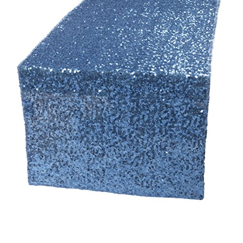"Kevin Textile Decoration Sparkling Shimmer Sequins Table Runner/Table Cover for Party/Wedding/Banquet Decoration, 14""x108"", Lake Blue"
