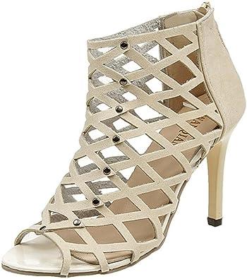 Clearance Sale!OverDose Women's Fashion Peep Toe High Heels Shoes Rivet Roman Gladiator Sandals