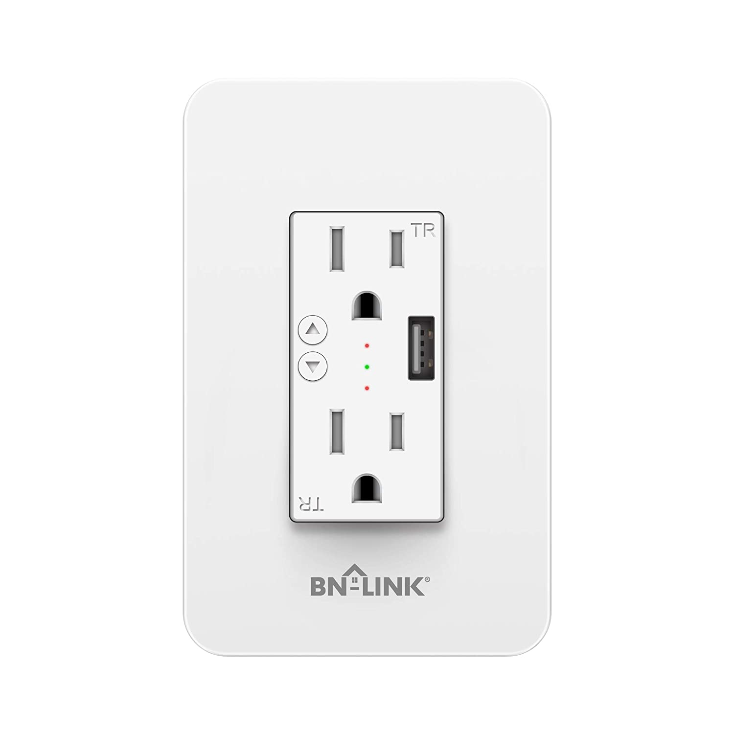 BN-LINK Electrical Outlet in-Wall Smart Wi-Fi Outlet with High Speed 2.1A USB Port