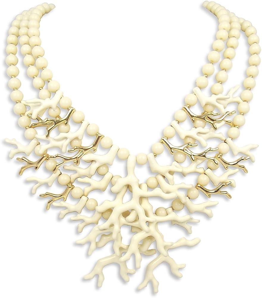 nobel schmuck Statement Kette Koralle 3reihig Gold Creme Collier