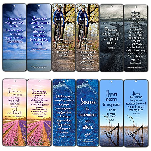 Creanoso Inspirational Quotes Bookmarks (60-Pack) - Favorite Success Quotes and Sayings - Positive Wisdom Motivational Sayings Gifts for Men Women Adults Teens Kids Boys Girls Entrepreneur Office