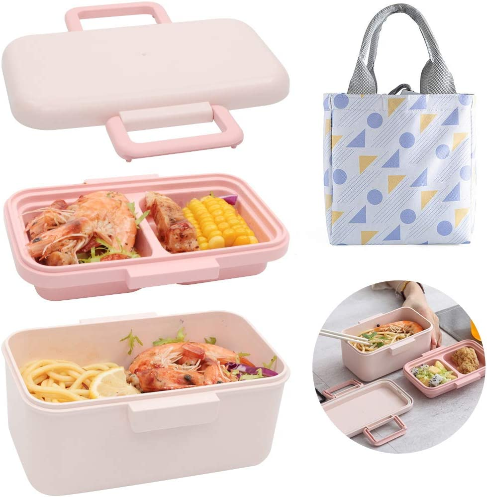 Ozazuco Bento Box Japanese Lunch Box,3-In-1 Compartment - Bamboo fiber, Leakproof Eco-Friendly Bento Lunch Box Meal Prep Containers for Kids (Pink)