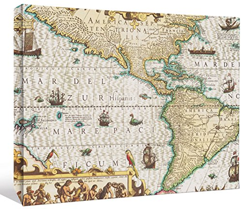 World Stretched Canvas - JP London LCNV2010 Antique North America Map World 2