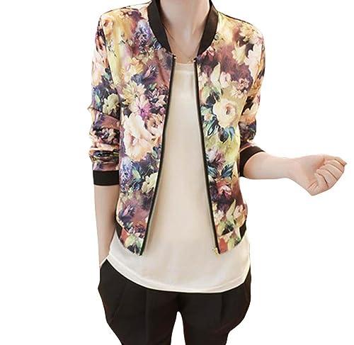 FEITONG Las mujeres del collar del soporte Manga larga de la cremallera impreso floral de la chaqueta de bombardero