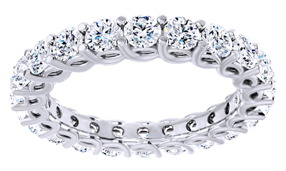 Round Cut Natural Diamond Eternity Band Ring In 14K Solid White Gold (2.5 Ct), Size-4.5
