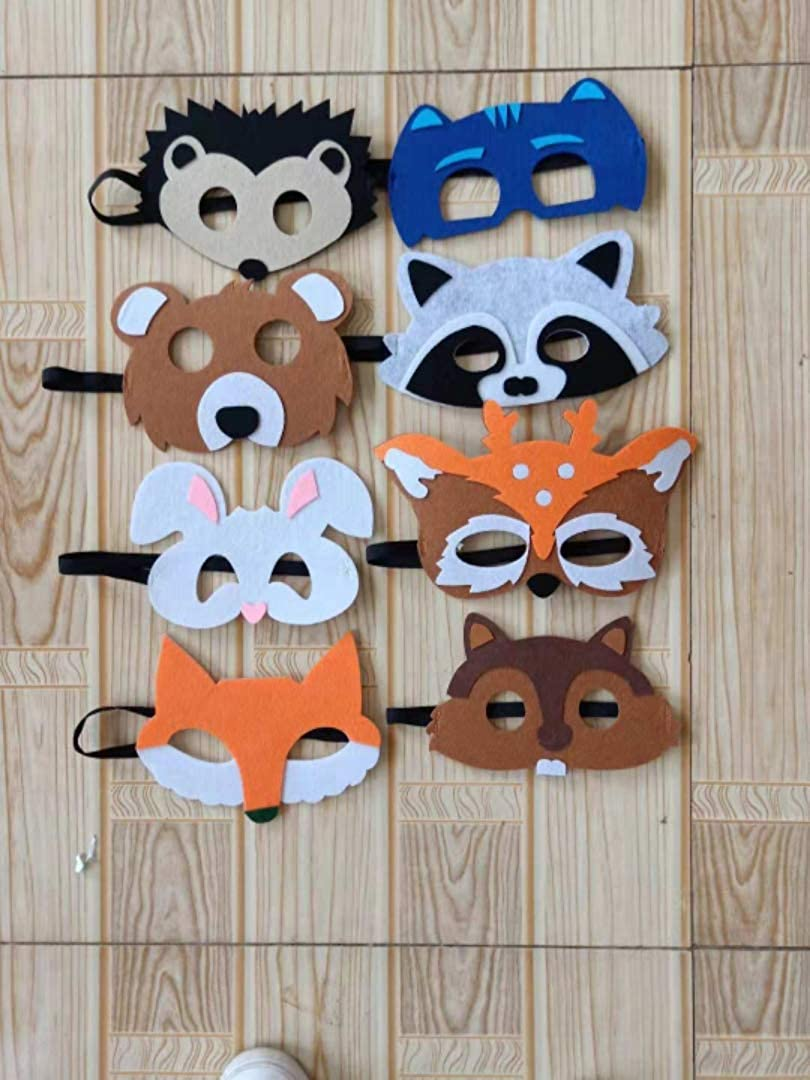 8 Pcs Forest Friends Fox Felt Animal Mask for Boys Girls Birthday Party Favors Dress-Up Costume