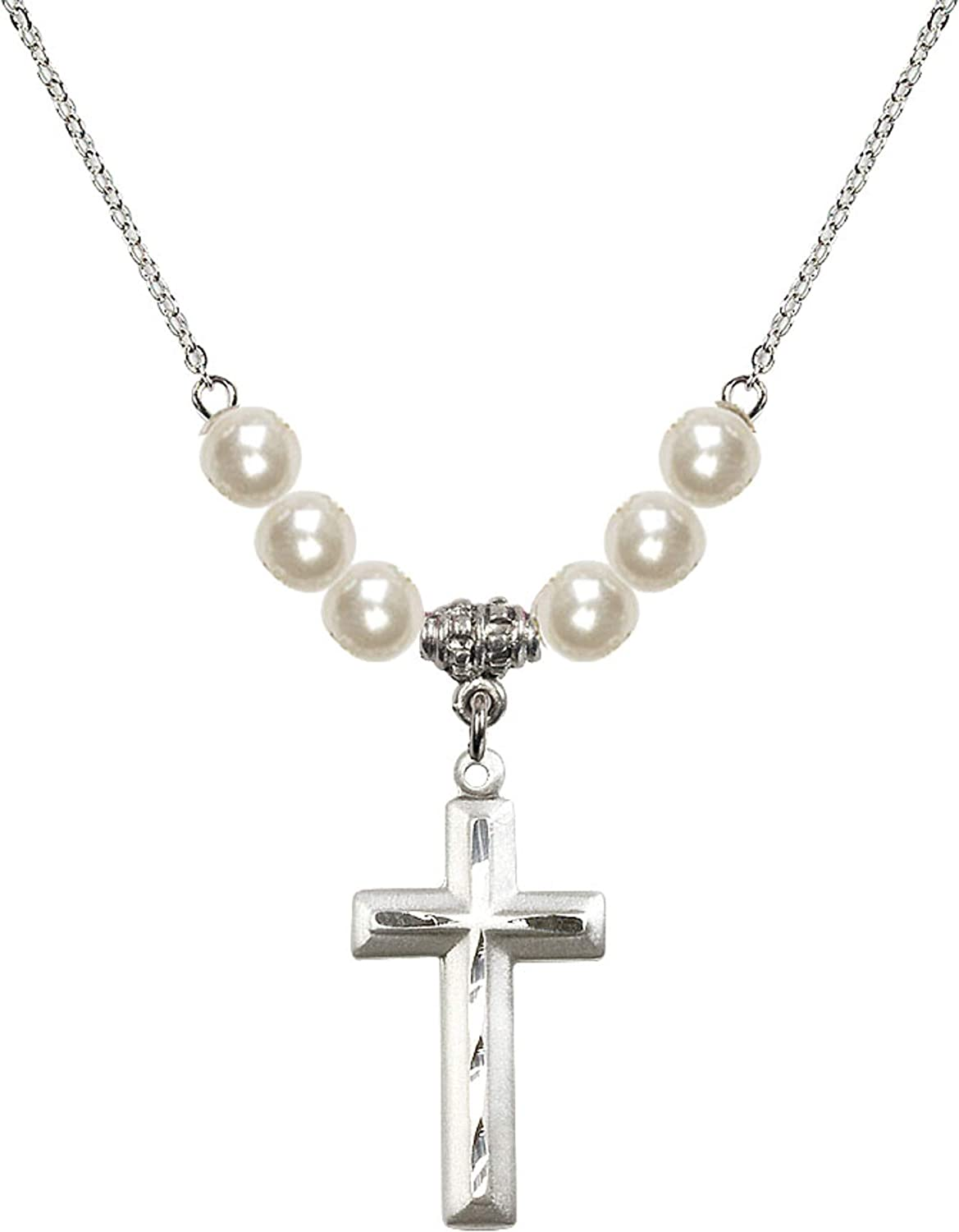 Bonyak Jewelry 18 Inch Rhodium Plated Necklace w// 6mm Faux-Pearl Beads and Cross Charm