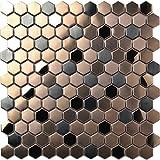 Hexagon Stainless Steel Brushed Mosaic Tile Bronze Copper Color Black Bathroom Shower Floor Tiles TSTMBT021 (11 PCS [12'' X 12''/each])