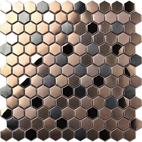 (Hexagon Stainless Steel Brushed Mosaic Tile Bronze Copper Color Black Bathroom Shower Floor Tiles TSTMBT021 (10 Square Feet))