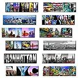 magnet fridge new york - New York Panoramic Photo Magnets NYC 5x1.6 inch - Pack of 12