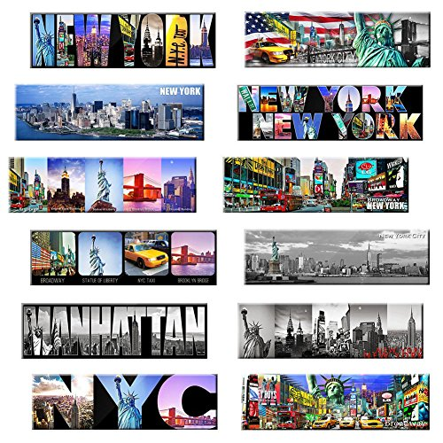 New York Panoramic Photo Magnets NYC 5x1.6 inch - Pack of 12 (Refrigerator York New Magnet)