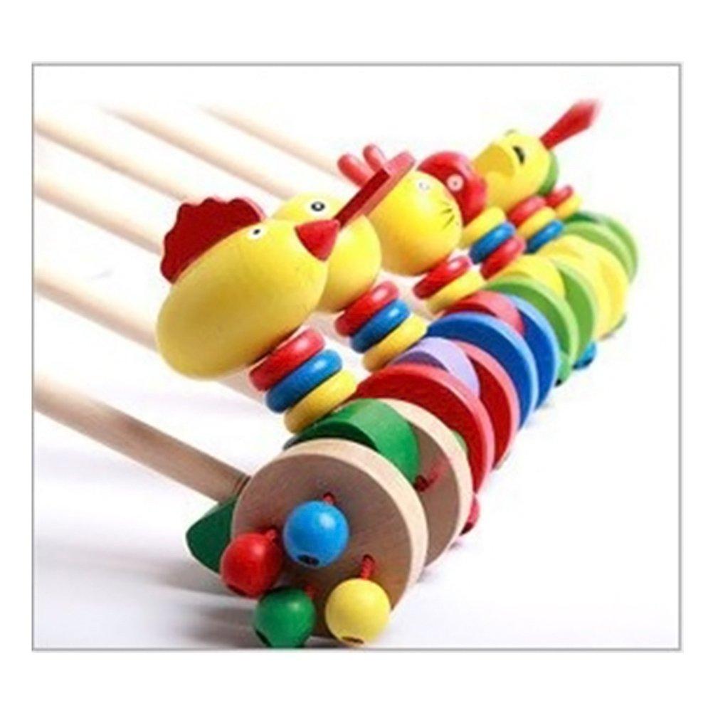 TOYMYTOY 5pcs Jouet à Pousser et Tirer Jouet à Tirer Animaux en bois Jouets éducatifs pour enfant