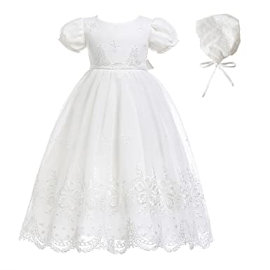 0f42e021fd Glamulice Baby-Girls Newborn Satin Christening Baptism Floral Embroidered  Dress Gown Outfit Off White