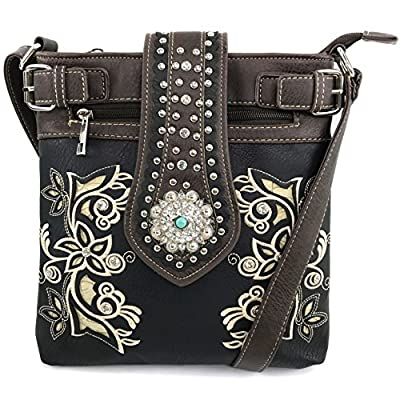 Justin West Western Tooled Floral Rose Laser Cut Rhinestone Concho Buckle Messenger Bag Purse with Long Crossbody Strap