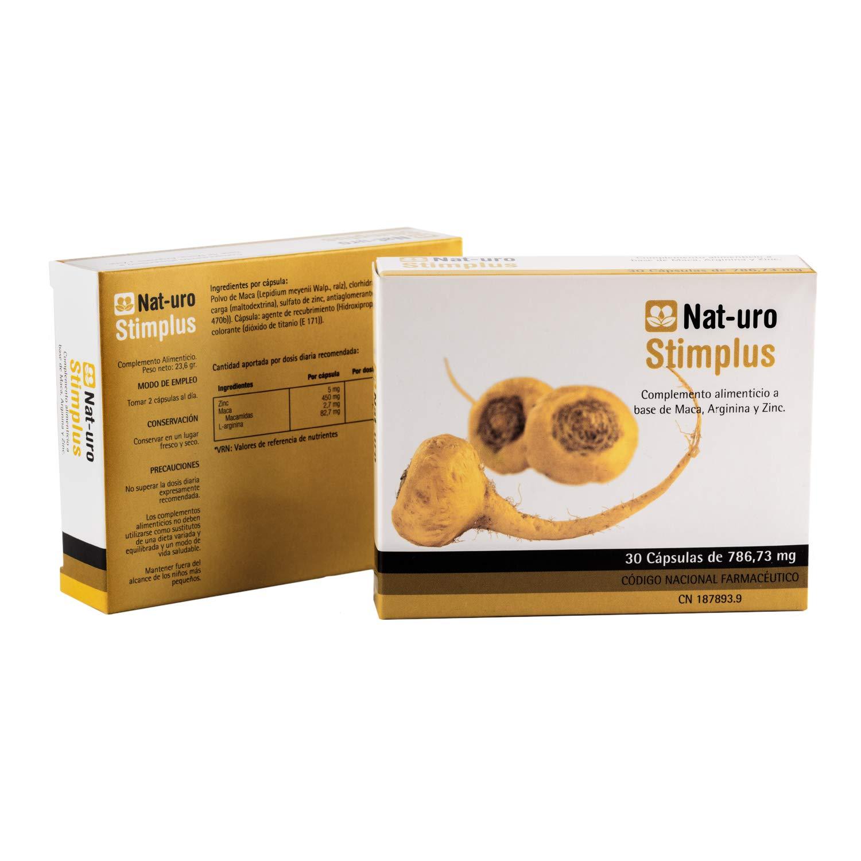 Nat-uro Stimplus | Producto natural para fertilidad y deseo sexual basado en Maca Andina original (Lipidium Meyenii), Arginina y Zinc | 30 cápsulas: ...