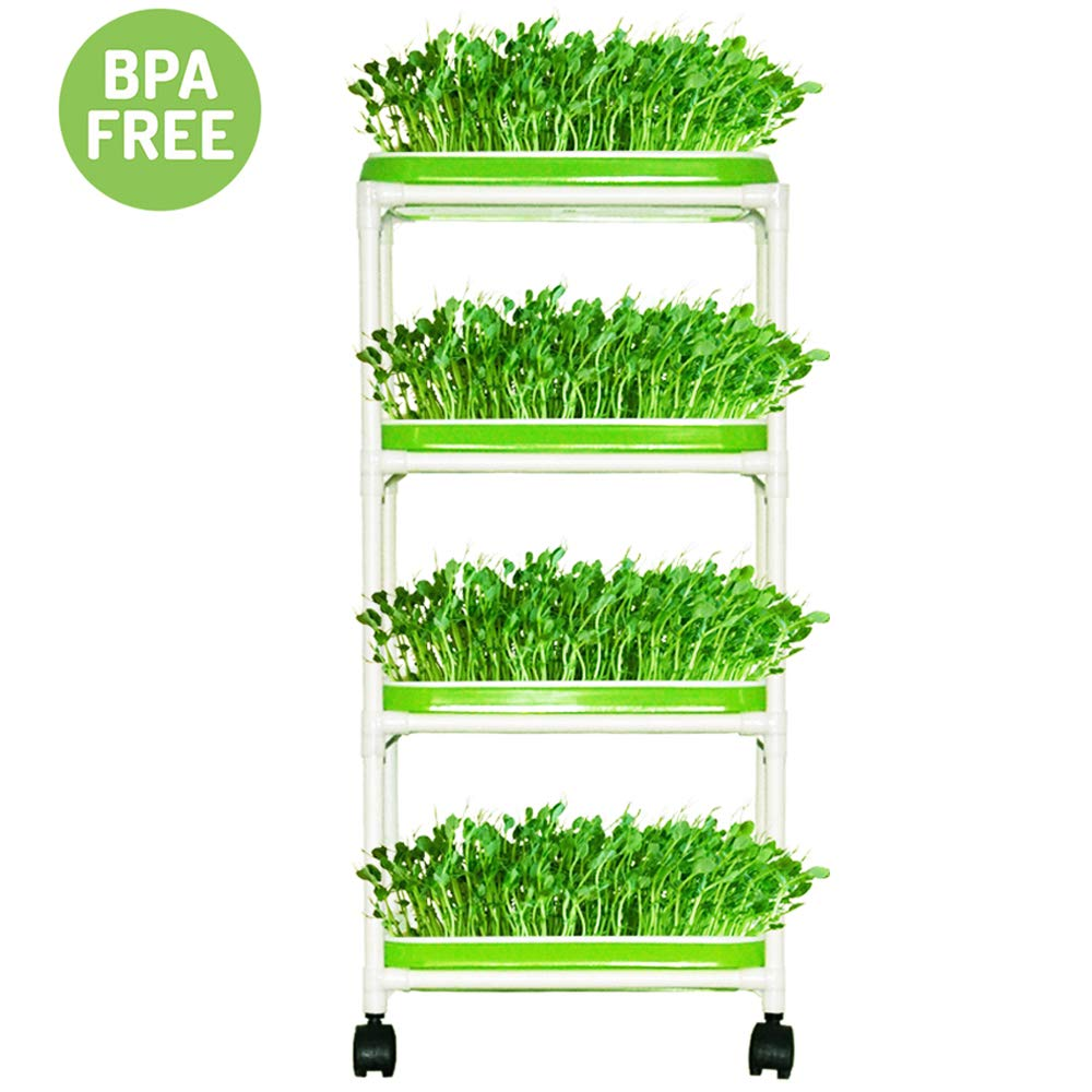 Seed Sprouter Trays with 4 Layers Shelf Soil-Free Healthy Wheatgrass Seeds Grower & Storage Trays for Garden Home by LeJoy Garden (Image #1)