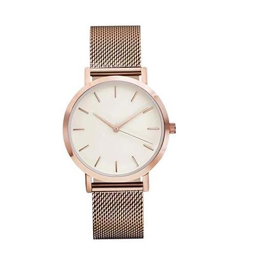 QinMM Reloj análogo de cuarzo para mujer, correa de malla (Oro rosa): Amazon.es: Relojes