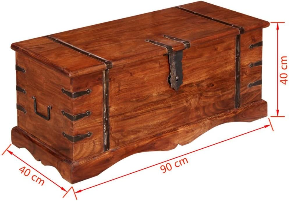 Aufbewahrungstruhe Massivholz Festnight Holztruhe Truhenbank Tischtruhe Truhe mit Stauraum 90 x 40 x 40 cm Braun
