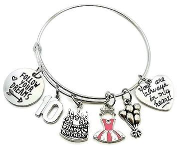 Kits Kiss Birthday Gift For Women 10th 13th 16th 18th 21st 30th 40th 50th 55th 60th 70th Bracelet Bangle