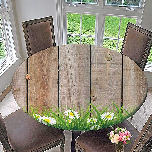 Mikihome Picnic Circle Table Cloths Antique Old Planks American Style Western Rustic Wooden and White Daisies, Thick Growth of Grass for Family Dinners or Gatherings 31.5