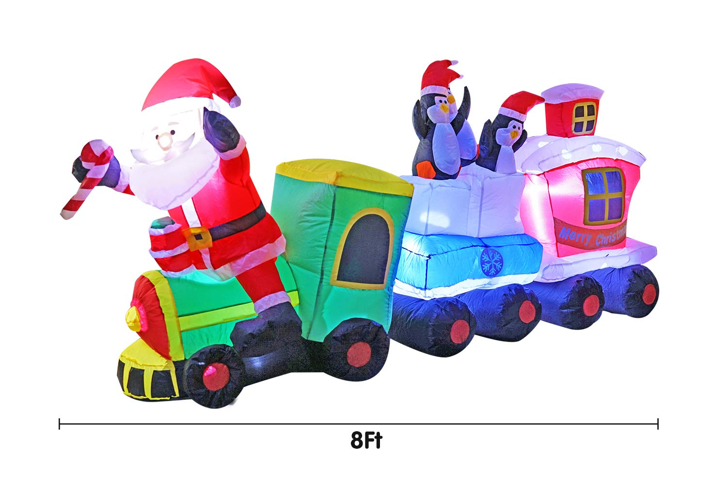 SEASONBLOW 8 Ft Inflatables Christmas Train with Santa Claus,Penguin Decorations Inflatable for Indoors Outdoors Yad Home Garden Lawn