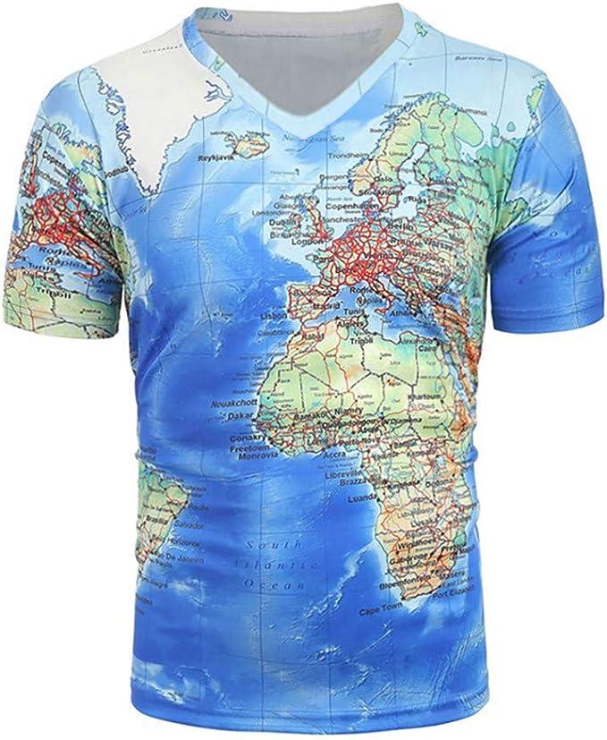 Impresión de Mapas del Mundo Manga Corta Tendencia Europea y Americana Impresión Digital Verano Camiseta 3D Camiseta Creativa de Manga Corta y Cuello Redondo: Amazon.es: Ropa y accesorios
