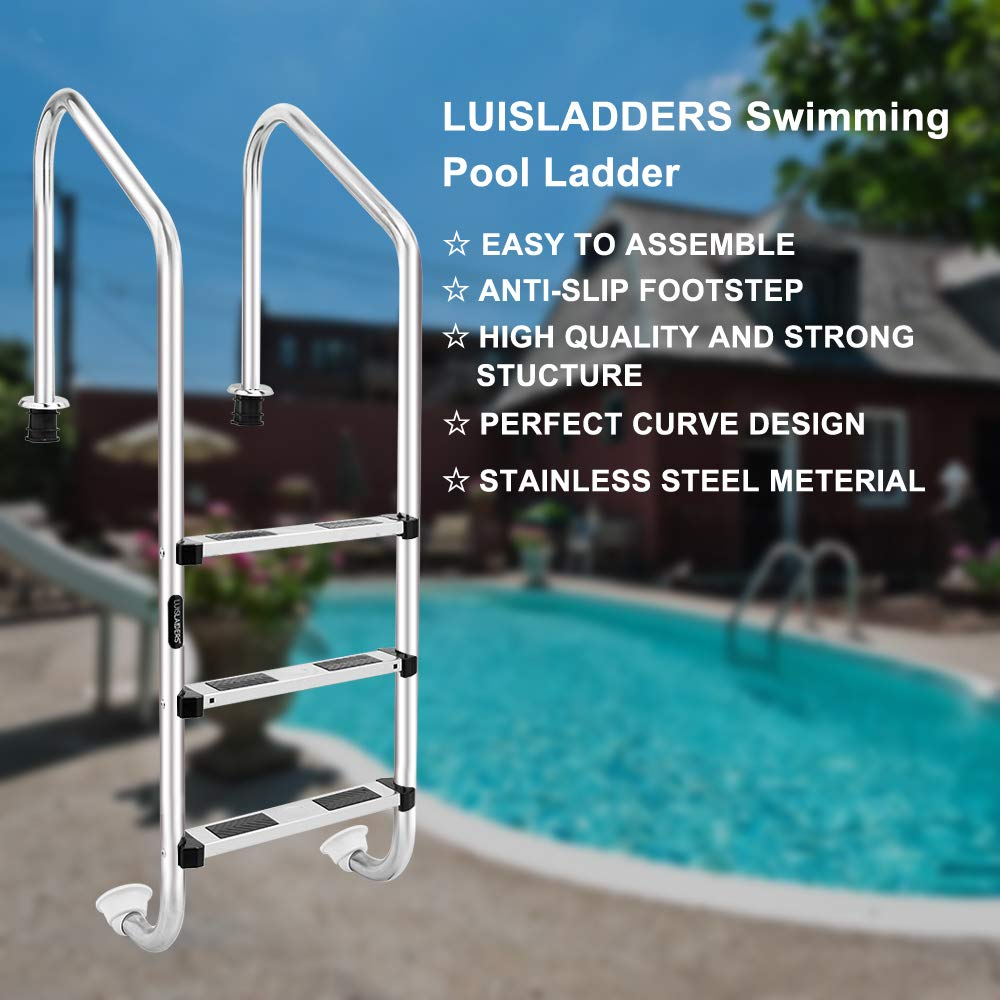LUISLADDERS 3-Step Pool Ladder for In Ground Pools Heavy Duty Stainless Steel Swimming Pool Step Ladder with Easy Mount Legs by LUISLADDERS