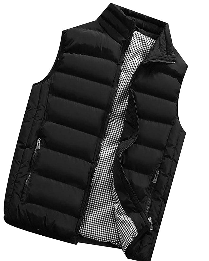 Hajotrawa Mens Jacket Sport Cotton-Padded Quilted Big and Tall Vest