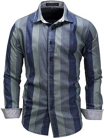 Camisa de Vestir a Rayas para Hombre, Camisa de Manga Larga de algodón, Cuello Alto y Corte Regular, Tops de Cuello (Color : Azul, tamaño : XXL): Amazon.es: Hogar
