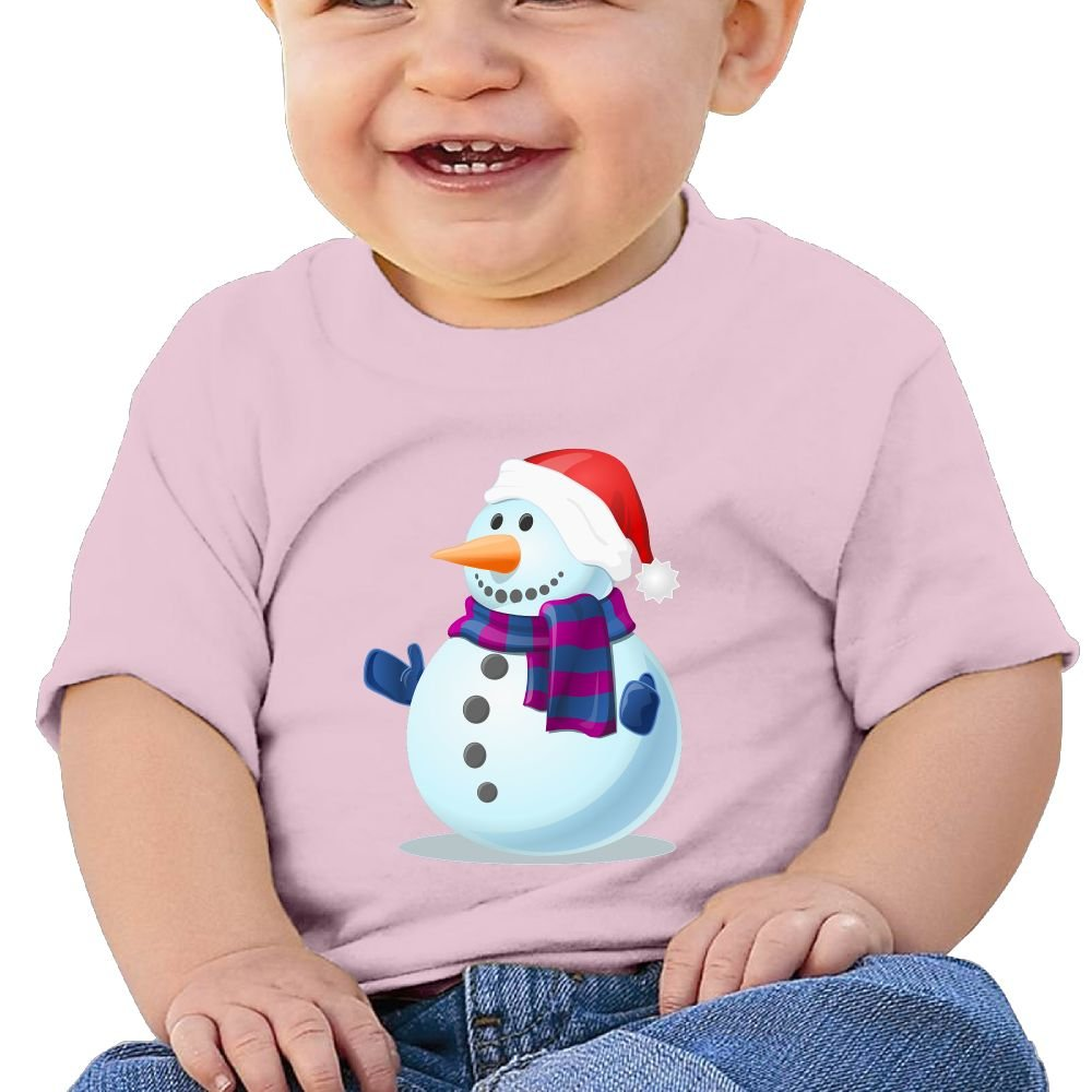 Santa Snowman Baby Undershirts Unisex Graphic Merry Christmas Cotton Baby Toddler Short Sleeve Tees