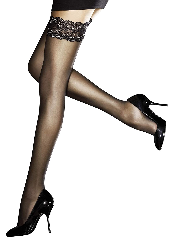 Fiore 20 denari super sottili e trasparenti lussuose calze autoreggenti disponibili in nero o nudo