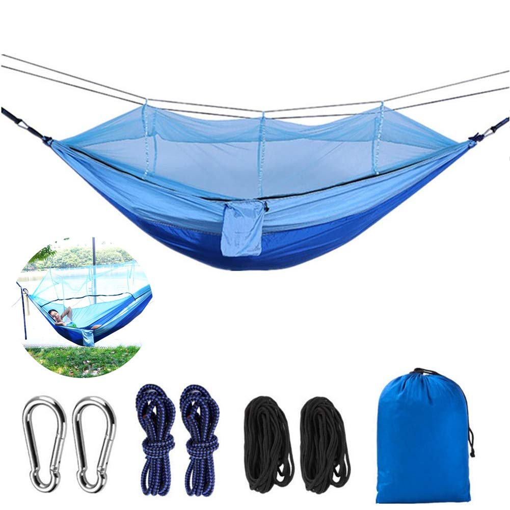 ACHENYUANYUAN Hammock with Mosquito Net Camping,Ultralight Portable Windproof,Mosquito Net Outdoor Hammock Travel Bed Portable Parachute Nylon Hammock for Camping,Backpacking, Survival,Travel & More